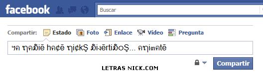 letras bonitas para facebook para tu nick en Facebook en tu muro